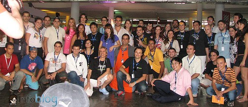 Foto dos blogueiros no Campus Blog no domingo