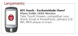 HTC Touch - Exclusividade da claro... ou não mais