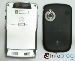 Moto Q e HTC Touch - diferenças na parte de tras