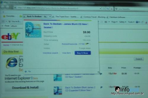Web slice na barra acompanhando um leilão no ebay