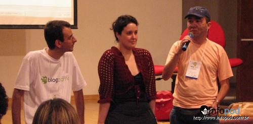Macari, Bia Kunze e Alexandre Sena durante o encontro nacional de podcasters 2007