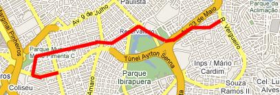 Itinerário: Googleplex, na Faria Lima, até o Metrô Ana Rosa