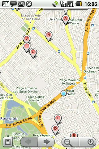 GPS android Pizza exibindo