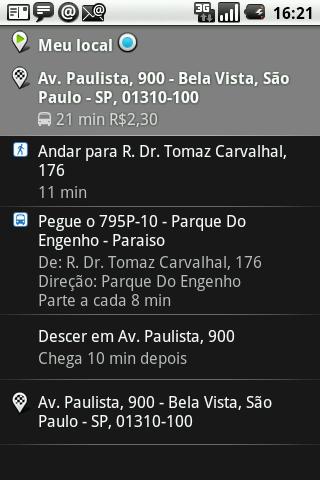 GPS android rota onibus detalhes