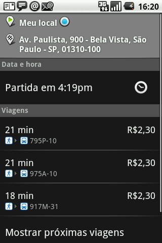 GPS android rota onibus